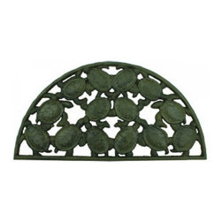 Handcrafted Nautical Decor - Rustic Cast Iron Turtle Doormat 25'' - This Rustic Cast Iron Turtle Doormat 25'is a durable door mat that will rest perfectly in front of your beach themed home. Constructed from cast iron, this vintage style door mat will compliment any patio with this wonderful turtle decoration. Get this as a gift for a coworker, family or friend who has an affinity for sea life decor. ------    Handcrafted from cast iron by our master artisans--    Excellent turtle decor--    Durable, sturdy and heavy beach theme door mat--