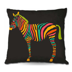 DiaNoche Designs - Pillow Woven Poplin - Zebra II - Toss this decorative pillow on any bed, sofa or chair, and add personality to your chic and stylish decor. Lay your head against your new art and relax! Made of woven Poly-Poplin.  Includes a cushy supportive pillow insert, zipped inside. Dye Sublimation printing adheres the ink to the material for long life and durability. Double Sided Print, Machine Washable, Product may vary slightly from image.