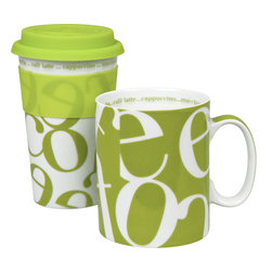 "Konitz - Set of 2 Script Collage Mugs Green To Stay/To Go - A real eye-catcher, the Script Collage Green Mugs have an allover, coffee-themed, jumbled letter motif in contemporary color. Use the traditional-shaped ""To Stay"" mug for breakfast at home and take the travel mug ""To Go""."