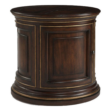 Sherrill Occasional - Sherrill Occasional Drum End Table 191-980 - Large drum table in a dark walnut finish with burnished gold highlights. One interior shelf.