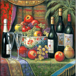 The Tile Mural Store (USA) - Tile Mural - Wine and Floral 1  - Kitchen Backsplash Ideas - This beautiful artwork by John Zaccheo has been digitally reproduced for tiles and depicts a very nice wine and fruit scene.    Our decorative tiles with wine are perfect to use for your kitchen backsplash tile project. A wine tile mural adds elegance and interest to your kitchen wall tile area and makes a wonderful kitchen backsplash idea. Pictures of wine on tiles and images of wines bottles on tiles and wine glasses on tiles is timeless and these decorative tiles of wine blend with any decor. Your kitchen will come to life with a tile mural featuring wine.