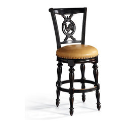 "Frontgate - Provencal Rooster Counter Stool (25-3/4""H seat) - The seat back has 5-ply construction for durability. Dry brush techniques highlight the handcarved details. Nailhead trim, nylon floor glides, brass-plated footrest. Smooth, 180-degree, lifetime-guaranteed return swivel. Inside depth: 17"". Modeled after roosters found on antique French pottery and German Black Forest carvings, our Rooster Bar Stool is exquisitely detailed from comb to claw. Its more substantial bearing, beautiful carving, and tremendous value are made possible through the use of maple hardwoods and cheery veneers.. . . . . Some assembly."