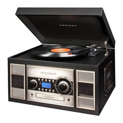 Crosley Radio - Turntable, CD Recorder and AM/FM Radio with Remote Control - Black finish.