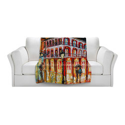 DiaNoche Designs - Throw Blanket Fleece - New Orleans French Quarter - Original Artwork printed to an ultra soft fleece Blanket for a unique look and feel of your living room couch or bedroom space.  DiaNoche Designs uses images from artists all over the world to create Illuminated art, Canvas Art, Sheets, Pillows, Duvets, Blankets and many other items that you can print to.  Every purchase supports an artist!