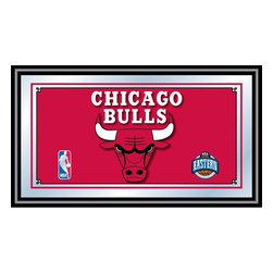 Trademark Global - Chicago Bulls NBA Framed Logo Mirror - Officially Licensed Full Color Artwork. Mirrored Glass Accents Team Logo. 1.25 Inch Black Wrapped Wood Frame. Includes Mounted Saw Tooth Hanger. Measures .75 (D) x 27 (W) x 15 (H) InchesReflect on the favorite memories of your team with this officially licensed framed logo mirror. Authentic artwork is preserved under mirrored glass then bound by a black wrapped wood frame.  Post up your passion for the game while assisting your room's appearance with this professional grade logo mirror.