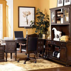 Signature Design by Ashley - 6 Pc Storage Leg Desk Set in Burnished Brown - Set includes Storage Leg Desk, Office Chair, Credenza, Corner Table, Large Hutch, and File Cabinet. Made with select Cherry veneers and hardwood solids. Burnished Brown finish. Hardware is finished in a Dark Bronze color. Credenza features a pull out printer shelf, laptop tray and electrical charging station. File cabinet drawer features full extension side mount roller glides. Metal file holders is also a feature of the file cabinet. Pull-out keyboard tray is covered with black PVC for durability. Some assembly required. Storage Leg Desk: Assembly Instructions. Office Chair: Assembly Instructions. Credenza and Hutch: Assembly Instructions. Corner Table: Assembly Instructions. File Cabinet: Assembly Instructions. Storage Leg Desk: 60 in. W x 30 in. D x 30 in. H. Office Chair: 24 in. W x 23 in. D x 40 in. H. Credenza: 60 in. W x 22 in. D x 30 in. H. Corner Table: 28 in. W x 22 in. D x 30 in. H. Large Hutch: 60 in. W x 16 in. D x 45 in. H. File Cabinet: 18 in. W x 22 in. D x 24 in. H