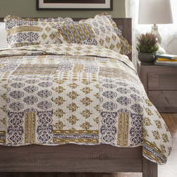None - Slumber Shop Whisper 3-piece Reversible Quilt Set - Stay warm this winter while adding a contemporary look to your home with this patchwork quilt featuring damask detailing. Reversible for double the use,this quilt is finished with vermicelli embroidery to add both style and durability.