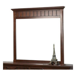 Homelegance - Homelegance Alyssa Rectangular Mirror in Cherry - The Alyssa collection is a quaint addition to your home. Cottage styling features molding and paneling with coordinating knob drawer pulls. The functional accent of ball bearing drawer glides on each drawer lend support and ease of effort. The crescent shape design feature that accents the headboard and drawer fronts pulls the look together resulting in a casual feel that will fit your cottage motif.