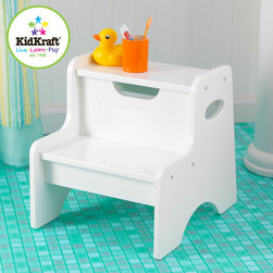 Kid Kraft - Kid Kraft Two Step White Colored Stool From Vistastores - This is kid kraft two Step white colored stool. This two step stool have wide toddlers on counter tops and other useful out-of-reach places. This stool is perfect for your mischievous kids who always want some freedom and do things on their own way. It is also an ideal tool for parents also who want their little children to feel grown up. This two step stool have a low center of gravity and very easy-to-clean, also Available in white and natural color.