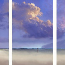 Murals Your Way - Tryptych Sky Wall Art - This triptych wall mural shows a peaceful beach scene in three panels