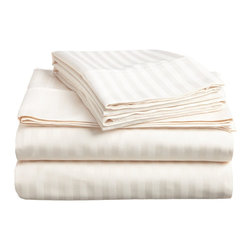 400 Thread Count Egyptian Cotton Split King Ivory Stripe Sheet Set - 400 Thread Count Egyptian Cotton Split-King (also known as 'Dual King') Ivory