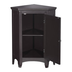 Elegant Home Fashions - Slone Corner Floor Cabinet with 1 Shutter Door - The Slone Corner Floor Cabinet from Elegant Home Fashions in dark espresso has an elegant crown molded top with one door that offers storage with style for your bathroom. The decorative louvered door  keeps your toiletries hidden and adds style to your bathroom. The shaker legs and arched decorative skirt on bottom front and sides offer architectural elegance. It is also very functional with one adjustable interior shelf.  It also features a chrome finished knob for easy opening. This cabinet comes with assembly hardware
