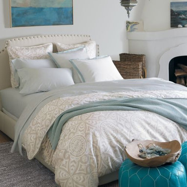 Serena & Lily - Ventura Duvet - The fresh palette and graphic medallion print make this duvet a dynamic neutral. Fabric-covered button closures and white piping add the finishing details.