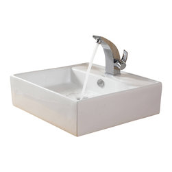 Kraus - Kraus White Square Ceramic Sink and Illusio Basin Faucet Chrome - *Add a touch of elegance to your bathroom with a ceramic sink combo from Kraus