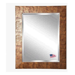 Rayne Mirrors - American Made Safari Bronze Beveled Wall Mirror - Create dramatic visual appeal in your space with this safari inspired framed wall mirror. Its beautiful bronze grain texture adds interest to any space. Rayne's American Made standard of quality includes; metal reinforced frame corner  support, both vertical and horizontal hanging hardware installed and a manufacturers warranty.