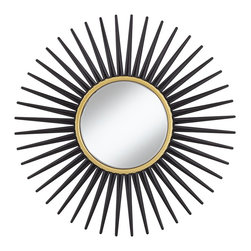 """Cinnabar Road - Accent Hathor Black Sunburst 34"""" Round Wall Mirror - Add a modern touch with this gorgeous round wall mirror. The timeless sunburst shape of this wall mirror is offset by a sleek and modern black painted frame. While the round inner mirror is accented with a gold inner trim. Cinnabar Road mirror design. Round wall mirror. Sunburst design. Black painted frame. Gold inner trim. Center mirror is 13 1/4"""" round.  Cinnabar Road mirror design.  Round wall mirror.  Sunburst design.  Black painted frame.  Gold inner trim.  Center mirror is 13 1/4"""" round.  Hang weight is 37.5 pounds."""