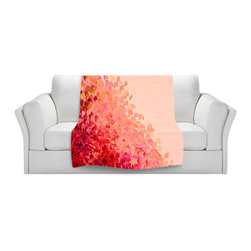DiaNoche Designs - Fleece Throw Blanket by Julia Di Sano - Creation in Color Coral Pink - Original Artwork printed to an ultra soft fleece Blanket for a unique look and feel of your living room couch or bedroom space.  DiaNoche Designs uses images from artists all over the world to create Illuminated art, Canvas Art, Sheets, Pillows, Duvets, Blankets and many other items that you can print to.  Every purchase supports an artist!