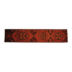 1800-Get-A-Rug - Overdyed Persian Hamadan Runner Hand Knotted Rug 100% Wool Sh17900 - The Overdyed and Patchwork hand knotted rug, represents one of the hottest trends in the industry today. Each Overdyed rug is stripped of its original colors, then dyed again in vibrant hues, to create unique and one-of-a-kind pieces. The Patchwork rug is handcrafted out of salvaged, vintage carpets, with a variety of colors combining to form a wholly unique and textured design.