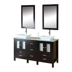 Virtu USA - 60in. Bradford - Espresso - Double Sink Bathroom Vanity - The espresso Bradford vanity captures a European contemporary design constructed out of zero-emissions solid oak wood. This double sink set provides maximum storage with soft closing doors and drawers. The vanity features two modern vessel basins on a tempered glass counter top. The complete set includes matching mirrors and quality lifetime warranty brushed nickel faucets. The Bradford vanity will be a great addition to your modern bathroom design.Virtu USA has taken the initiative by changing the vanity industry and adding soft closing doors and drawers to their entire product line. By doing so, it will give their customers benefits ranging from safety, health, and the vanity's reliability.