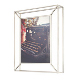 """Umbra - Matrix Frame, 8"""" X 10"""" Photo Frame - Add new dimension to your photo displays with the simple beauty of a Matrix nickel wire frame, in which a photo floats between two panes of glass. The three-dimensional picture frames can stand on a desk or be wall-mounted with hardware included. Comes in a gift box."""