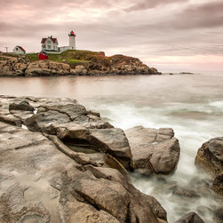 images by jon evan - Red Lighthouse - This Lighthouse was located near Portland, Maine. It measures 20x30 and mounted on plexiglass. It comes pre-wired and ready to hang. Sold in a limited edition of 9.