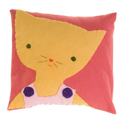 Kata Golda - Pillow - Cat, Girl - Kata Golda's down pillow features a removable canvas slipcase that's decorated with a hand-stitched wool felt animal design. The hand-embroidered details make each pillow unique. Care: Gently spot wash with cold water by hand. Detergents can cause the wool to fade, so use caution and test in an inconspicuous area first.  Do not place items in the dryer; they will shrink.
