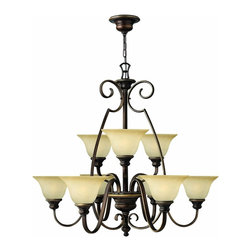 Hinkley Lighting - 4568AT Cello Two Tier Chandelier, Antique Bronze, Vintage Alabaster Glass - Traditional Two Tier Chandelier in Antique Bronze with Vintage Alabaster glass from the Cello Collection by Hinkley Lighting.