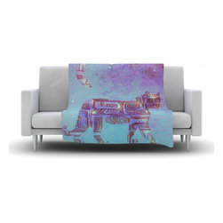 """Kess InHouse - Marianna Tankelevich """"Panther at Night"""" Purple Blue Fleece Blanket (30"""" x 40"""") - Now you can be warm AND cool, which isn't possible with a snuggie. This completely custom and one-of-a-kind Kess InHouse Fleece Throw Blanket is the perfect accent to your couch! This fleece will add so much flare draped on your sofa or draped on you. Also this fleece actually loves being washed, as it's machine washable with no image fading."""
