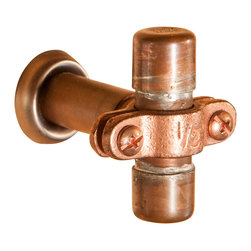 Nine & Twenty - Small Industrial Copper Cabinet Handle - The little brother of our larger two-bolt cabinet handles, and drawer pulls, this pull is suitable for a small cabinet door or vanity, or, if you're feeling adventurous, put two on a large bureau drawer.