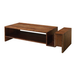 Marco Polo Imports - Parker Groove Coffee Table - This elegant coffee table combines the rustic charm of natural wood with contemporary designs, giving new life to salvaged wood. The indented groove is perfect for storing books and magazines.