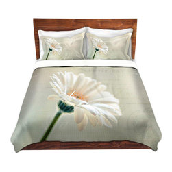 DiaNoche Designs - Duvet Cover Microfiber - Daisy - DiaNoche Designs works with artists from around the world to bring unique, artistic products to decorate all aspects of your home.  Super lightweight and extremely soft Premium Microfiber Duvet Cover (only) in sizes Twin, Queen, King.  Shams NOT included.  This duvet is designed to wash upon arrival for maximum softness.   Each duvet starts by looming the fabric and cutting to the size ordered.  The Image is printed and your Duvet Cover is meticulously sewn together with ties in each corner and a hidden zip closure.  All in the USA!!  Poly microfiber top and underside.  Dye Sublimation printing permanently adheres the ink to the material for long life and durability.  Machine Washable cold with light detergent and dry on low.  Product may vary slightly from image.  Shams not included.