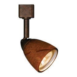 Cal Lighting - Cal Lighting LT-954-AMS  1 Light Adjustable Track Head with Amber Spot Shade for - Art Deco / Retro 1 Light Adjustable Track Head with Amber Spot Shade for LT Track SystemsThe LT Track System is a 2-wire narrow single circuit system.Features: