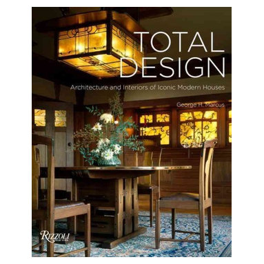 """Rizzoli International Publications - """"Total Design: Architecture and Interiors of Iconic Modern Houses"""" Hardcover - Celebrating the ultimate masterpieces of modernist design, from the Arts and Crafts movement up to the twenty-first century, Total Design offers an intimate tour of houses conceived as complete works of art. Each of the spectacular houses making up Total Design demonstrates how an architect realized a unifying vision through all aspects of design'architecture, furniture, fittings, decorative objects, color, and gardens. Presenting masterpieces of modern architecture conceived as complete works of art inside and out, author George H. Marcus, a veteran chronicler of modernist design, delivers a highly accessible tour of the creations of some of the twentieth century's greatest architects and designers, including Frank Lloyd Wright, Mies van der Rohe, Alvar Aalto, Eero Saarinen, Charles Rennie Mackintosh, and Gio Ponti. Together these masterworks of design offer a stunning survey of the many modes of modernist design, from the inventive refinement of Pierre Chareau to the colorful Nordic forms of Finn Juhl to the twenty-first-century expressionism of Daniel Libeskind."""