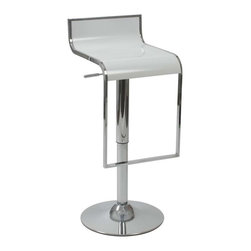 Eurostyle - Eurostyle Fortuna Plastic Seat Bar/ Counter Stool in White & Chrome - Plastic Seat Bar/ Counter Stool in White & Chrome belongs to Fortuna Collection by Eurostyle You'll love the look of the Euro Style Foster Adjustable Swivel Bar Stool. It's like a '50s retro diner stool ... with a modern twist. Constructed from tubular metal in highly-polished chrome, this stool has a round base and a rectangular footrest that's a continuation of the seat frame for a unique touch. The seat itself is made from durable ABS plastic and comes in your choice of colors. Best of all, this stool not only swivels for easy, comfortable access, it also features a gas lift mechanism that gives you smooth, adjustable height. Move the seat from 23 inches tall to 35 inches tall to suit any standard counter-height or bar-height table or island. Measures 18W x 16D x 25-35H inches; some assembly is required. Bar/ Counter Stool (1)