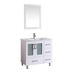 """Vanova - Vanova VA107-35W Cabinet, Basin & Mirror White Vanity - Our stylish floor standing all wood vanity includes a ceramic top with an integrated rectangular sink. Frosted glass soft closing doors, single bottom drawer and three right sided draws. Matching mirror included.  Color: White , Vanity: 35""""W x 19""""D x 33""""H, Mirror: 31.5""""W x 23.62""""H, Includes: Cabinet-Basin & Mirror, Hardware: Soft-closing doors and drawer, Faucet & drain not included"""