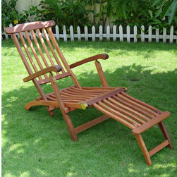 Eucalyptus Reclining Folding Steamer Lounge Chair - Natural - This chaise lounge chair is perfect for lounging next to your pool or on your patio. The Eucalyptus Reclining Folding Steamer Lounge Chair is easy to maintain with its pre-treated wood, never requiring stain, sealant or paint.