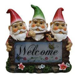 Alpine - Set of 4 Solar Gnomes with Welcome Sign Garden Statues - Features:Dimensions:
