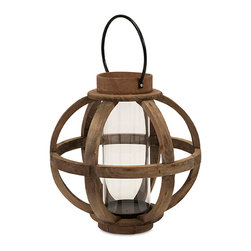 Imax - Gorgeous Style Brown Garrett Wood Lantern Patio Home Accent Decor - Light up your world with a fir candleholder with a cylindrical Glass hurricane and Iron accents and hanger. Color is Brown. Material is 60% Firwood, 25% Glass, 10% Iron, 5% Plywood.