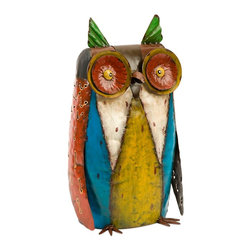 Imax - Whimsical Multicolor Oscar Metal Owl Statue - *The handcrafted metal sculptural owl features colorful finishes and a whimsical light hearted stature.