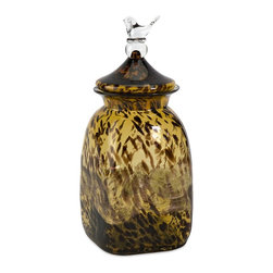 iMax - iMax Lyra Large Amber Glass Canister X-90136 - This large amber glass canister has a delighting bird figurine topping the lid.