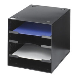 Safco - Steel Desktop Organizer w 4 Compartments - Compartment adjustability with 1 in. increment. Shelf adjustability with 1 in. increment. Stackable upto 3 in. height. Three shelves. Limited lifetime warranty. Made from heavy gauge steel. 10 in. W x 12 in. D x 10 in. H (8.8 lbs.)Get the organization you need where you need it. With the Steel Desktop Organizer you can easily get any area of your workspace in order. Start with your office and continue to the print station, supply room, storage area, conference room, training area, classroom, media center, library and even your home office. That's a lot of organization power!