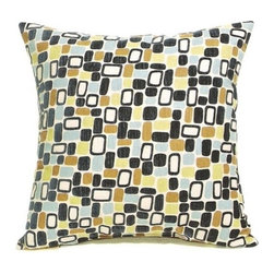 "CCCC-P-415 - Woodstock Multicolor Rectangle Pattern Print 20"" x 20"" Throw Pillow - Woodstock multicolor rectangle pattern print 20"" x 20"" throw pillow. Measures 20"" x 20"" made with a blown in foam and also available with feather down inserts at additional costs, search for down insert upgrade to add the up charge to your order. These are custom made in the U.S.A and take 4- 6 weeks lead time for production."