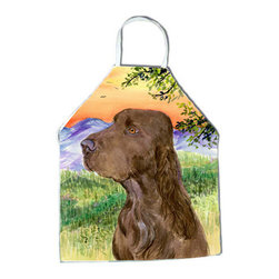 Caroline's Treasures - Field Spaniel Apron - Apron, Bib Style, 27 in H x 31 in W; 100 percent  Ultra Spun Poly, White, braided nylon tie straps, sewn cloth neckband. These bib style aprons are not just for cooking - they are also great for cleaning, gardening, art projects, and other activities, too!