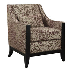 Coaster - Coaster Club Chair in Decorative Wood Trim - Coaster - Club Chairs - 902090 - This stylish patterned accent chair is perfect for any room. Featuring a decorative wood trim on the front wood legs and a matching lumbar pillow.