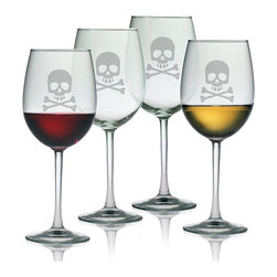 None - Halloween Skull and Crossbones 19-oz Wine Glasses (Set of 4) - Emblazoned with a frosted or black skull and crossbones,each of the four 9-inch-tall Halloween-themed wine glasses by Susquehanna Glass serves up to 19 ounces. Fashioned out of clear lead-free glass,these dishwasher-safe glasses are made in the USA.
