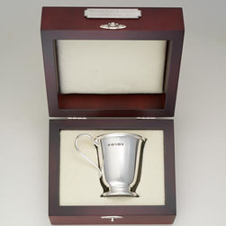 """Exposures - Sterling Silver Empire Cup with Presentation Box - Overview Designed exclusively for Exposures, this sterling silver cup by Carrs of England is the ultimate heirloom gift. Display to commemorate a new baby, wedding, retirement or lifes other milestones. Carrs silversmiths create world-renowned silverware, and this cup is an outstanding example.   Features Sterling silver Comes in mahogany presentation case lined in cream velvet  Gold wash on inside of cup Engraved antique silver plaque available for personalization (sold separately) Made in the U.K.    Personalization  Engraved antique silver plaque sold separately; personalize with up to 3 lines, 20 characters per line   Specifications  Cup: 2 1/2""""dia. X 2 7/8"""" high Box: 6"""" wide x 4 3/4"""" long x 3 1/4"""" high"""
