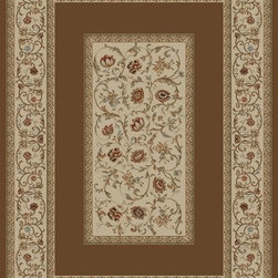 "Concord Global - Concord Global Ankara Floral French Scrolls Border Brown  6'7"" x 9'6"" Rug (6238) - The Ankara collection is made of heavy heat-set olefin and has the look and feel of an authentic hand made rug at a fraction of the cost. New additions to the line include transitional patterns that are up to date in the current fashion trend. Made in Turkey"