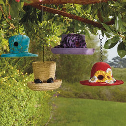 Grandin Road - Hanging Dressy Hat Bird Feeder - Painted all-weather polystone construction. Each style is equipped with a drainage hole. Arrives ready to use with an included chain. When it comes to fabulous new garden touches, nothing tops our Dressy Hat Bird Feeders--except the birds. When you sprinkle birdseed around each brim, the birds will flock to them.  .  .  .