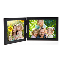 """Philip Whitney - Double Black Wood Frame, 7""""x5"""" - Achieve a simple, clean look in your home using this Double Black Wood Frame. Featuring side-by-side horizontal black wood frames, this versatile piece can accommodate two different 7-by-5 inch photos. Sleek and unadorned, this frame works well with both bold and neutral color schemes."""