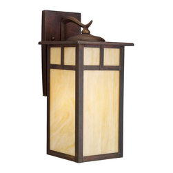 KICHLER - KICHLER 9148CV Alameda Arts and Crafts/Mission Outdoor Wall Sconce - The Alameda Collection brings its simple, down-to-earth design to your outer decor adding an unassuming dynamic to your home's profile. Each fixture utilizes a classic lantern shape. Our exclusive Canyon View finish and Honey opalescent glass panels, add instant beauty and ambiance, making the Alameda Collection a family of outdoor fixtures that garners attention wherever you install it. Uses a 150-watt (max.) bulb, and is U.L. listed for wet location.